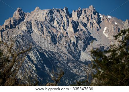 Rugged Mountain Peaks Including Mt Whitney Taken From Lone Pine, Ca