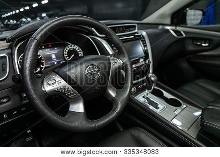 Novosibirsk, Russia - October 10, 2019:  Nissan Murano, Luxury Car Interior - Steering Wheel, Shift