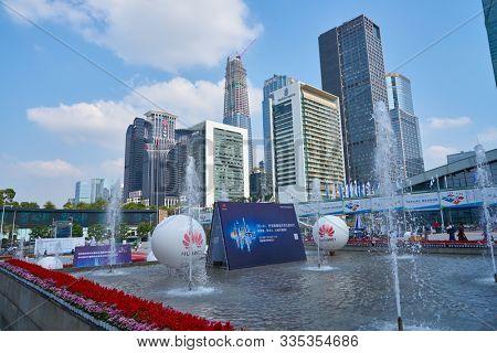 SHENZHEN, CHINA - CIRCA NOVEMBER, 2019: view from Shenzhen Convention & Exhibition Center during China Hi-Tech Fair 2019.
