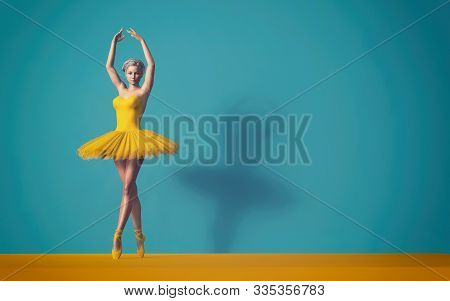 Ballerina Posing In A Yellow Skirt. 3d Render Illustration