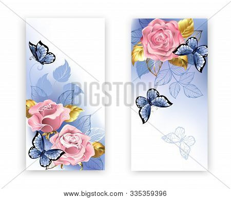 Two Banners With Pink Roses, Jewelry Gold And Blue Leaves With Blue Butterflies On White Background.