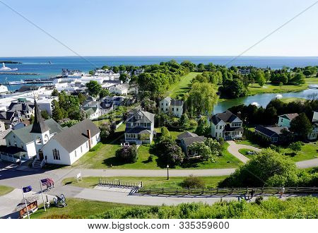Mackinac Island, Michigan / United States - June 11, 2018: A View Of Downtown Mackinac Island, The J