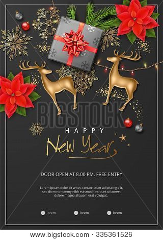 Christmas And New Year Poster. Christmas Decorations, Gold Figurine Of A Deer, Poinsettia Flowers An