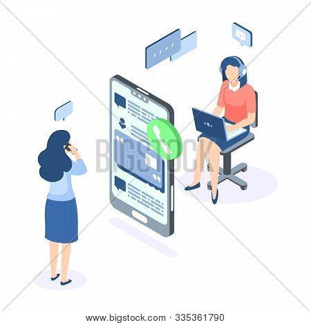 Customer Support Isometric Concept. Call Center Help Web Banner. Online Service Help Assistance. Vec