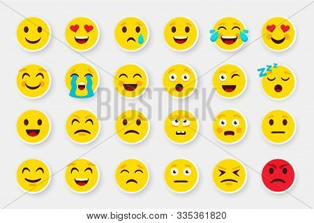 Emoji Sticker Face Set. Emoticon Cartoon Emojis Symbols. Vector Digital Chat Objects Icons Set. How