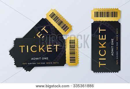 Two Movie Tickets. Realistic Cinema Theater Admission Pass Template. Vector Illustration Festival Bl