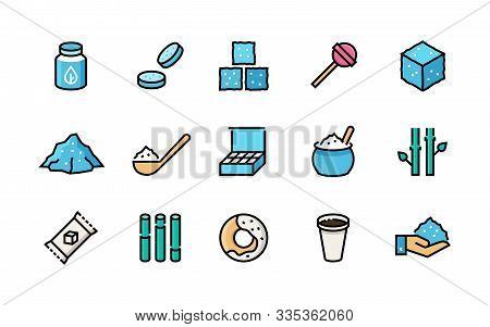 Sugar Icons. Sweeteners, Sugar Canes Packages Bags Cubes And Heap, Organic Stevia Eco Sweetener. Vec