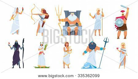 Ancient Greek Gods. Cartoon Cute Legendary Characters Of Ancient Mythology. Vector Male And Female H