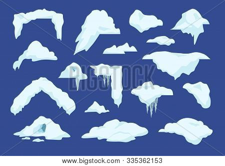 Snow Caps. Cartoon Winter Decoration Elements With Snowballs And Icicles, Frozen Clouds And Snow Pil