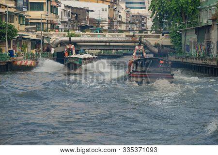 Bangkok, Thailand - December 28, 2018: Two Passenger Shuttle Boats On The City Khlong Maha Nak Canal