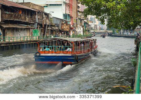 Bangkok, Thailand - December 28, 2018: Shuttle Boat Close-up On The City Canal Klhong Maha Nak