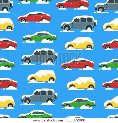 Cartoon Color Cars Covered Snow Seamless Pattern Background Winter And Blizzard Concept Element Flat