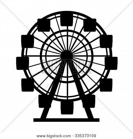 Silhouette Black Color Ferris Wheel Circle Attraction Element Of Amusement Park. Vector Illustration