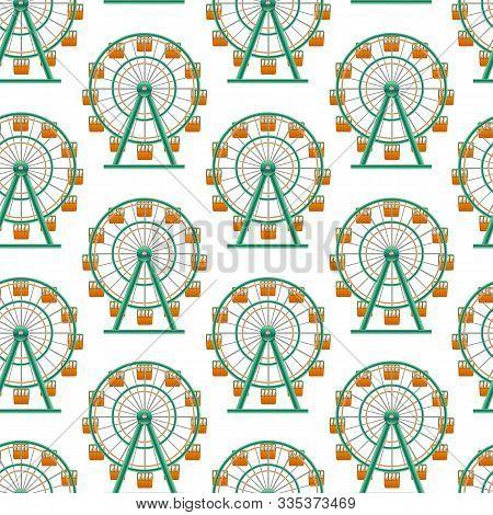 Realistic Detailed 3d Ferris Wheel Circle Attraction Seamless Pattern Background Element Of Amusemen