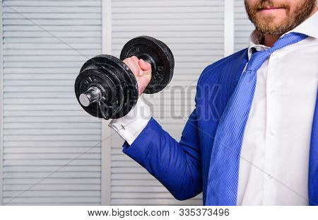 Business Coach. Put More Effort. Man Raise Heavy Dumbbell. Boss Businessman Manager Raise Hand With