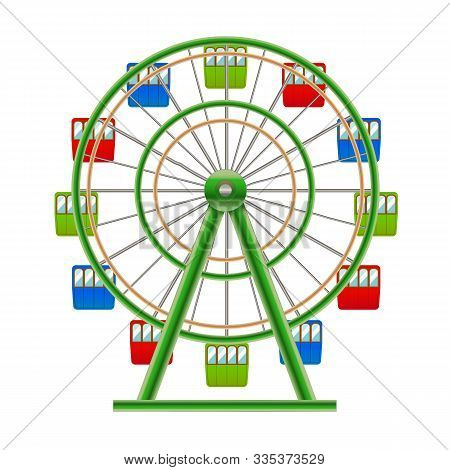 Realistic Detailed 3d Ferris Wheel Circle Attraction Element Of Amusement Park. Vector Illustration
