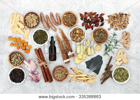 Chinese herbal medicine to treat asthma, COPD & respiratory diseases with herb & spice collection,  acupuncture  needles & aromatherapy essential oil used. Flat lay, top view.