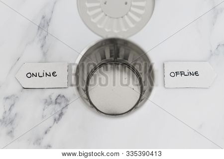 Social Media And Living Life Online Conceptual Still-life, Garbage Bin With Online And Offline Signs