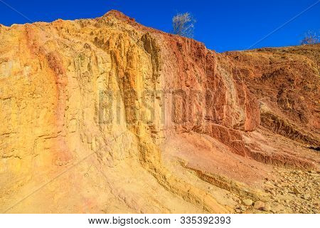 Site Sacred Of Ochre Pits A Minerals Rock Formation Ochre In West Mcdonnell Ranges, Northern Territo