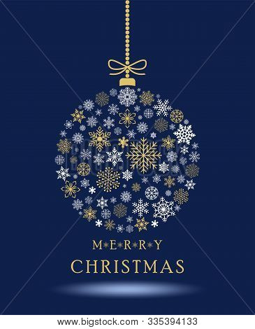 Christmas Bauble Vector With Snowflakes, Hanger, Chain And Greetings. For Background, Wallpapers And