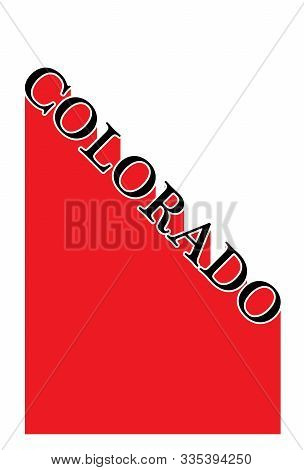 Text In Red And White Proclaiming Colorado With A Shadow Backdrop