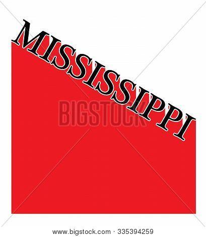 Text In Red And White Proclaiming Mississippi With A Shadow Backdrop
