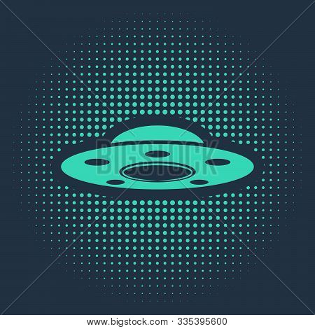 Green Ufo Flying Spaceship Icon Isolated On Blue Background. Flying Saucer. Alien Space Ship. Futuri
