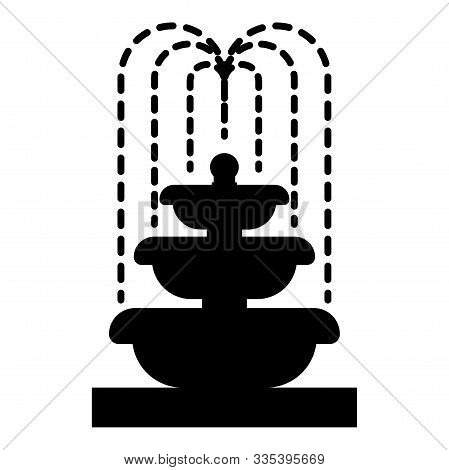 Fountain Tier Of Water Icon Black Color Vector Illustration Flat Style Simple Image