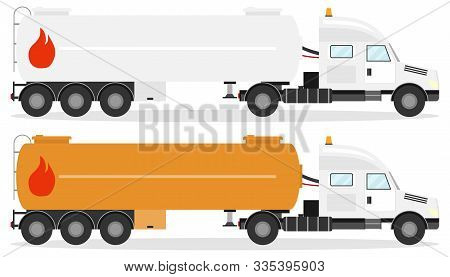 Fuel Truck, Realistic Fuel Truck With Shadow Isolated On White. Vector Illustration Of Two Fuel Truc