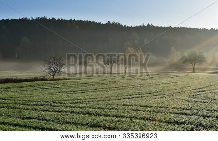 View Of Autumn Landscape In Morning Fog, South Bohemia, Czech Republic
