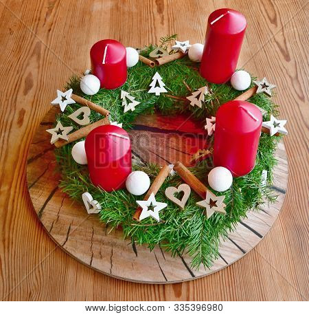 Traditional Handcrafted Advent Wreath, South Bohemia, Czech Republic