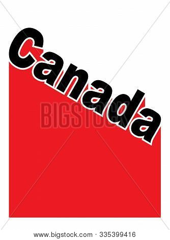 Text In Red White And Blue Proclaiming Canada With A Shadow Backdrop