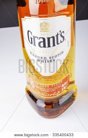 Grants Rum Cask Finish Whisky On White Background. Grants Has Been Produced By William Grants And So