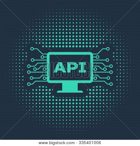 Green Computer Api Interface Icon Isolated On Blue Background. Application Programming Interface Api