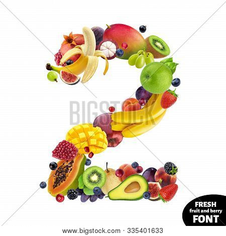 Number Two Made Of Different Fruits And Berries, Fruit Alphabet Isolated On White Background