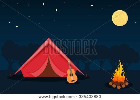 Forest Camp With Tent, Bonfire. Camping Site With Campfire At Night And Guitar. Meadow With Camping