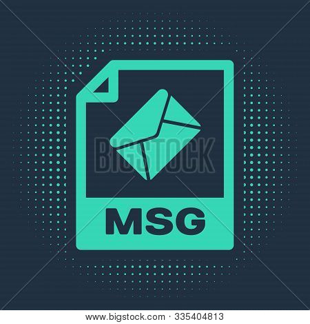 Green Msg File Document. Download Msg Button Icon Isolated On Blue Background. Msg File Symbol. Abst