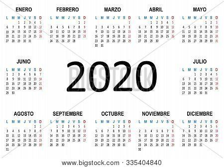 Yearly Calendar Spanish 2020. Week Starts Monday. Vector Illustration