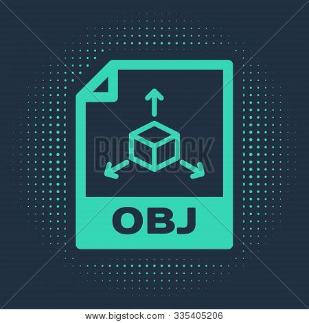 Green Obj File Document. Download Obj Button Icon Isolated On Blue Background. Obj File Symbol. Abst