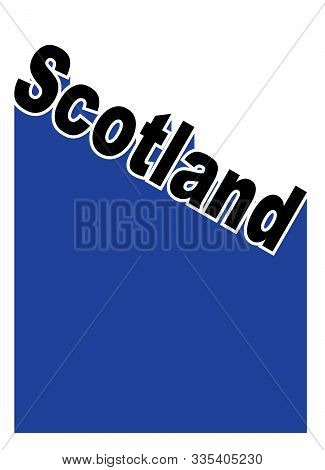 Text In Red White And Blue Proclaiming Scotland With A Shadow Backdrop
