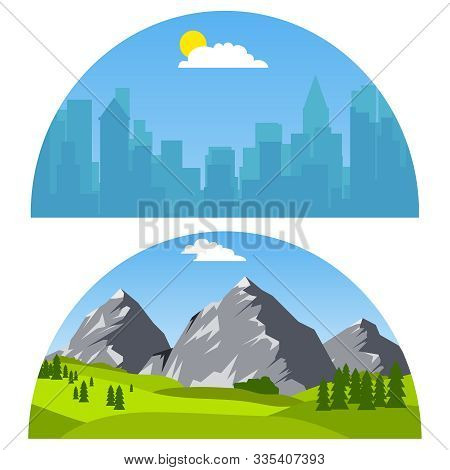 City And Mountain Landscape. City Landscape, Mountain Landscape. Vector Illustration Of Urban Landsc