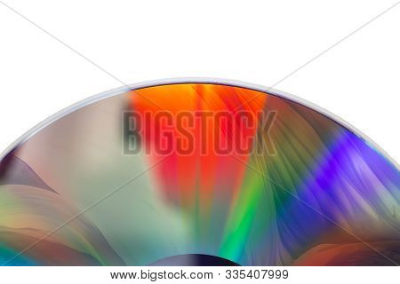 Part Of A Cracked Dvd Disc With Multi-colored Reflections, On A White Background, Isolated
