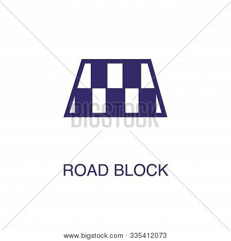 Roadblock Element In Flat Simple Style On White Background. Roadblock Icon, With Text Name Concept T