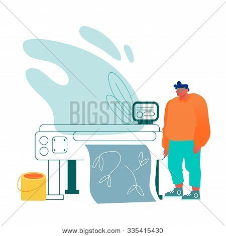 Designer Work With Plotter Or Widescreen Laser Printer Producing Banner Or Polygraphic Production In