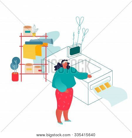 Woman Working In Printing House Or Advertising Agency Standing Near Polygraphy Equipment. Designer W