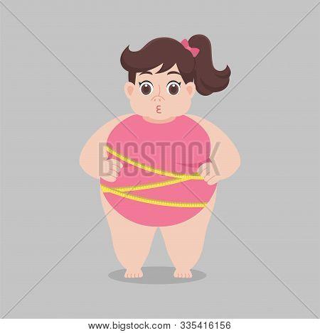 Big Fat Woman Worry Wearing Pink Bikini Tape Measure, Healthcare Concept Cartoon Healthy Character F