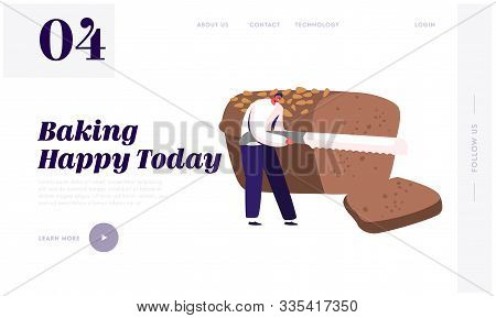 People Eating Or Buying Bakery Website Landing Page. Tiny Man Slicing Huge Brown Tommy With Knife, B