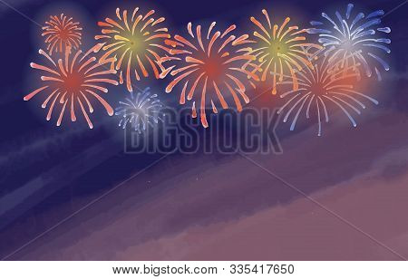 Brightly Colorful Fireworks On Twilight Background. Celebration Firework Poster Template With Waterc