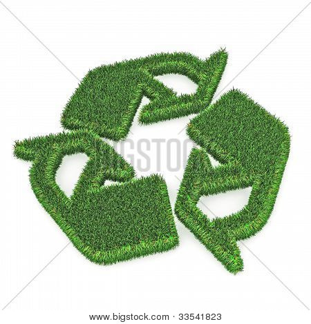 A Colourful 3d Rendered Green Recycle Illustration poster