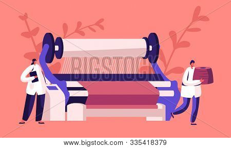 Textile Machinery Manufacture. Factory Worker Characters In Uniform Standing Near Controlling Panel